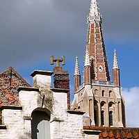 Europe, Belgium, Brugges. Stepped Gable and Steeple of Brugges.