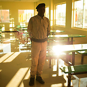 A wildlife ranger stands on attention in the mess of a newly opened school for rangers and the environment at the opening of the World Environment Day Day activities in Menongue, in the province of Cuando-Cubango, Angola. (For UNEP)