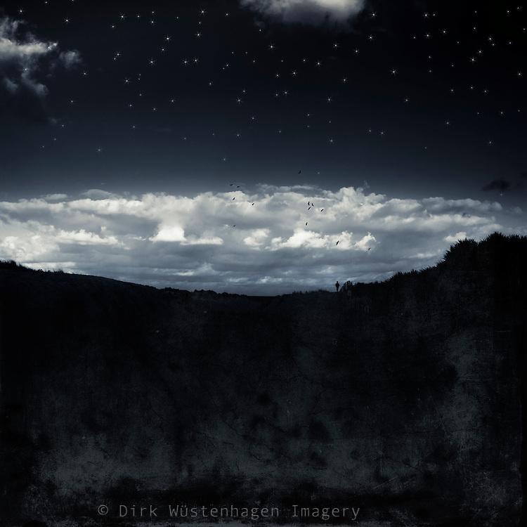 silhouette of a person in a dark nightly landscape