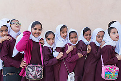 Omani schoolgirls visiting Nizwa Fort in Oman