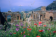 Teatro Greco the Roman amphitheatre in Taormina with Mount Etna in the background, Sicily, Italy, May 1992