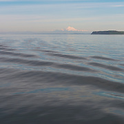 Wildlife refuge Protection Island, and Mount Baker, in the distance as the boat cruises near Sequim Bay on the Strait of Juan de Fuca.