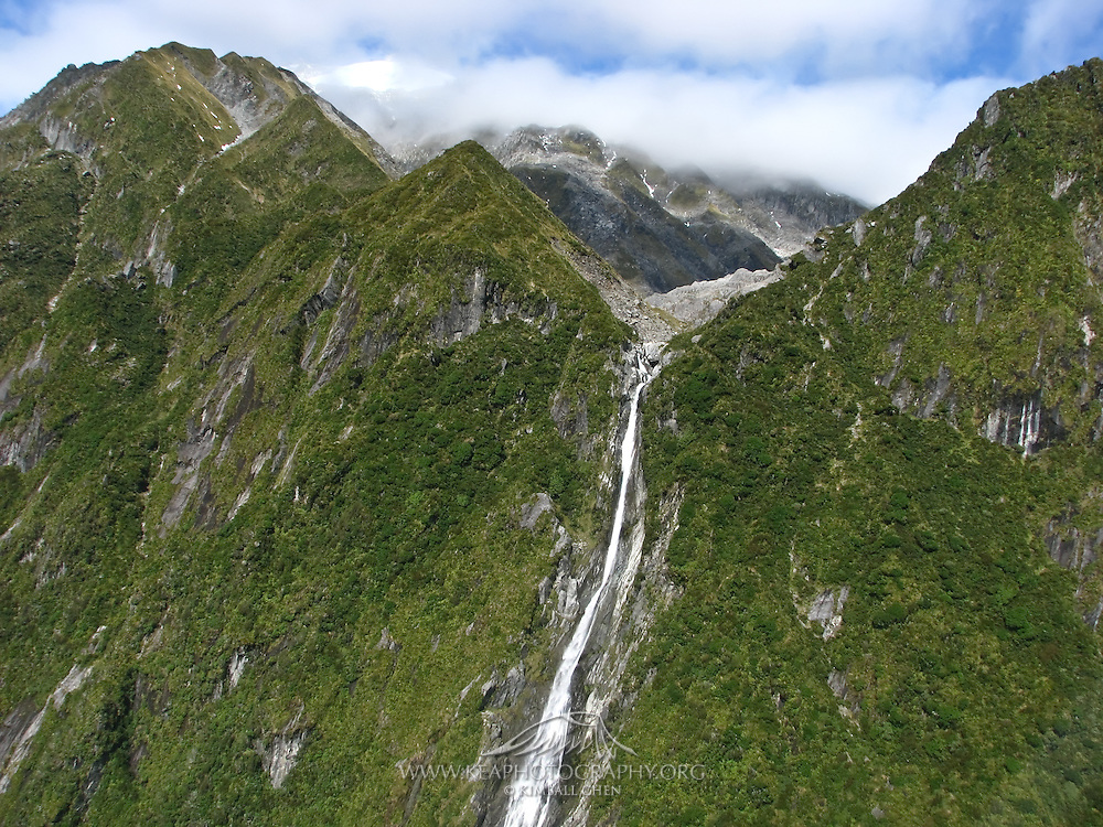 Aerial of a waterfall along the West Coast, New Zealand
