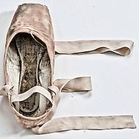 Love written with pointe ballet shoes.   ( Kike Calvo via AP Images )
