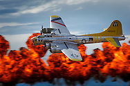 "Brent Conner flies Tillamook Air Museum's B17 ""Chuckie"" past the ""Wall of Fire"" at the Airshow of the Cascades."