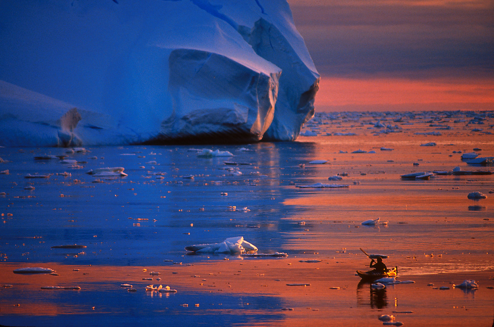 Kayaker in Antarctica.