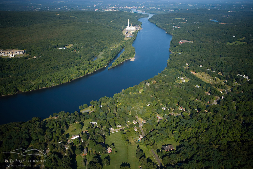The Connecticut River in Portland, Connecticut.  Power plant. Aerial.