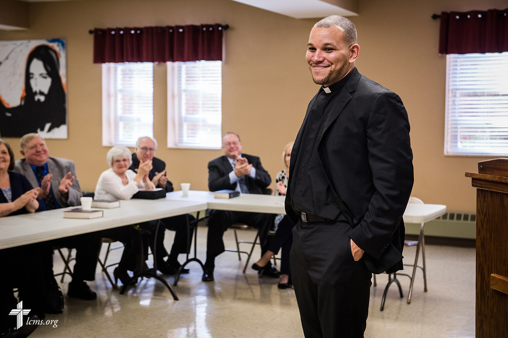 The Rev. Micah Glenn, national missionary to Ferguson, Mo., gives a presentation to supporters at Trinity Lutheran Church on Sunday, April 2, 2017, in Cape Girardeau, Mo. LCMS Communications/Erik M. Lunsford