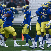 Delaware defensive back MALCOLM BROWN (1) celebrates with his teammates after returning a interception for 16 yards during a week eight game between the Delaware Blue Hens and the Stony Brook Seawolves, Saturday, Oct. 22, 2016 at Tubby Raymond Field at Delaware Stadium in Newark, DE.