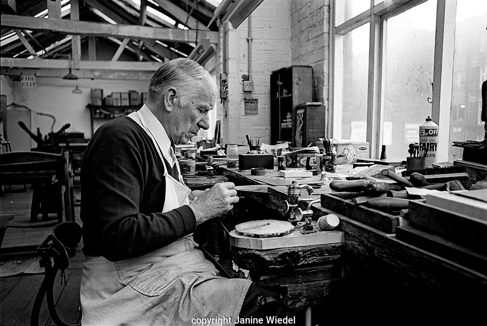 Bill Spooner Silversmith at Turner and Simpson silversmiths and enamelers in Birmingham's Jewellery Quarter in the 1970s