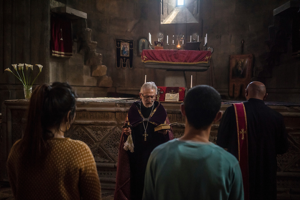 MARTAKERT, NAGORNO-KARABAKH - APRIL 18: Priest Ter-Grigor Markosyan in his office at Gandzasar Monastery on April 18, 2015 in Martakert, Nagorno-Karabakh. Since signing a ceasefire in a war with Azerbaijan in 1994, Nagorno-Karabakh, officially part of Azerbaijan, has functioned as a self-declared independent republic and de facto part of Armenia, with hostilities along the line of contact between Nagorno-Karabakh and Azerbaijan occasionally flaring up and causing casualties. (Photo by Brendan Hoffman/Getty Images) *** Local Caption *** Ter-Grigor Markosyan