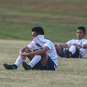 Delcastle midfielder Dustyn Salazar	(6) sits on the field in tears after Newark FC Forward Diego Guzman (10) scores the winning goal in extra time during a regular season soccer match between Newark and Delcastle Thursday, Oct. 22, 2015 at Delcastle in Wilmington.