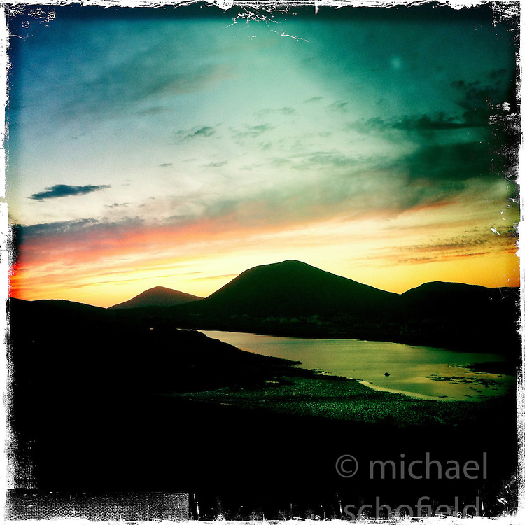 Sunset, Isle of Harris..Hipstamatic images taken on an Apple iPhone..©Michael Schofield.