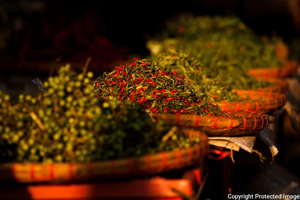 variety of chilies for sale, Myung Mai market, Chiang Mai, Thailand