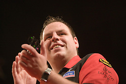 Adrian Lewis arrives v Raymond van Barneveld in the first match..2010 Whyte & MacKay Premier League Darts week nine, Glasgow SECC..©2010 Michael Schofield. All Rights Reserved.