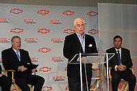 Chevrolet Indy Car engine announcement.  Roger Penske, Randy Bernard, Tom Stephens