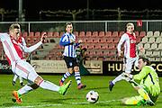 AMSTERDAM - Jong Ajax - FC Eindhoven , Voetbal , Jupiler league , Seizoen 2016/2017 , Sportpark de Toekomst , 24-02-2017 , Jong Ajax speler Kaj Sierhuis (l) dicht bij zijn tweede treffer maar stuit op Eindhoven keeper Ruud Swinkels (r)