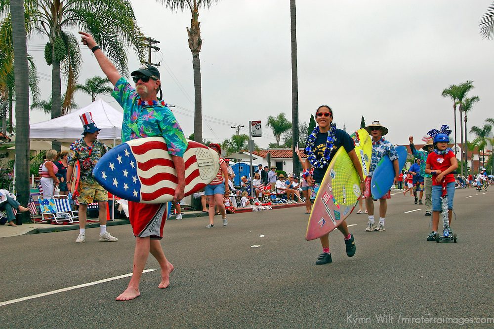 USA, United States, America. The Ocean Beach Geriatric Surf Club leads the Coronado 4th of July Parade.