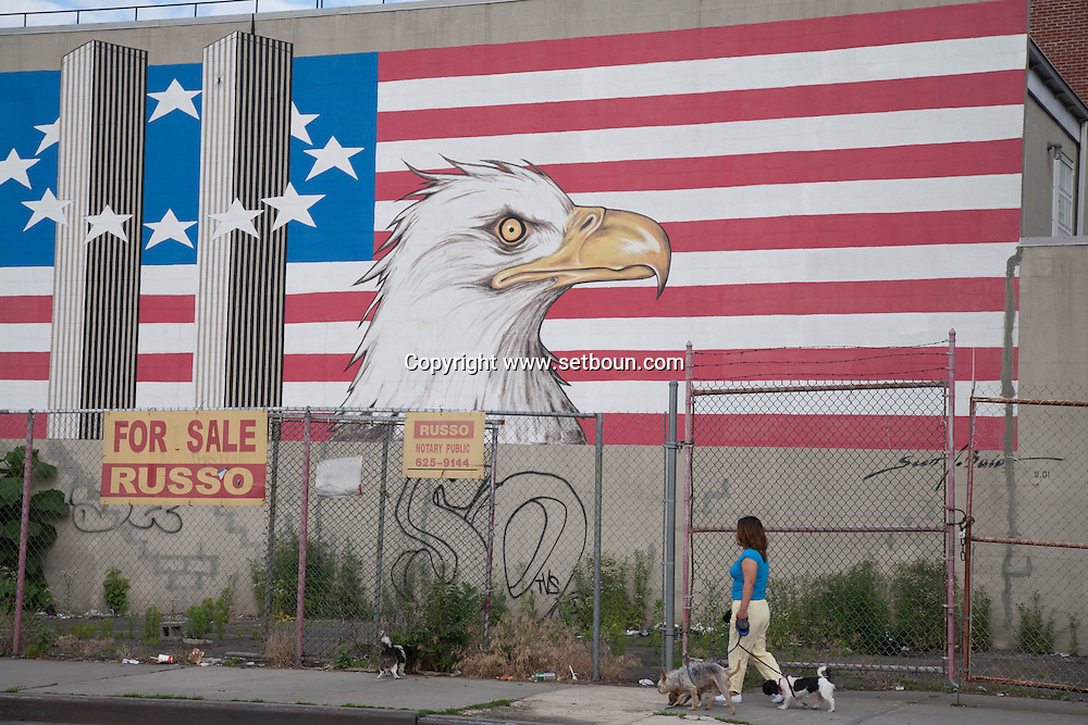 New York, Brooklyn, red Hook , smith street station area . Red hook . Brooklyn. american flag. eagle symbol