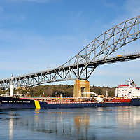Oil tanker Thalassa Desgagnes in the Cape Cod Canal under the Bourne Bridge