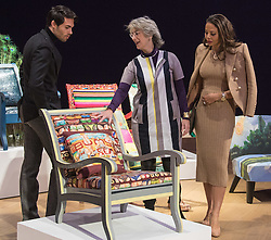 Bonhams, London, February 29th 2016. Made In Chelsea's Mark Francis Vandelli and Emma, Viscountess Weymouth of Longleat (right) with actress Maureen Lipman and the chair she created during a photocall for &quot;Sitting Pretty&quot; featuring unique, hand painted and upholstered chairs made by 30 celebrities and artists, at Bonhams ahead of their auction in support of a leading AIDS charity, CHIVA Africa.<br /> &copy;Paul Davey<br /> FOR LICENCING CONTACT: Paul Davey +44 (0) 7966 016 296 paul@pauldaveycreative.co.uk