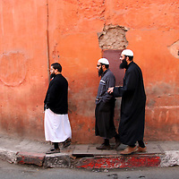 North Africa, Africa, Morocco, Marrakesh.  Peaceful co-existence of Jews and Arabs in the Mellah of Marrakesh, Morocco.
