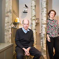 UK. London. School of Life in Marchmont Street, London.  Photo shows Philosopher and member of the faculty Alain de Botton and Director Sophie Howarth,.Photo@Steve Forrest/Workers' Photos