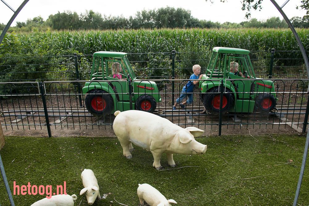 Nederland, Lievelde, 13augustus2014 Robert en Karin Wassink zijn gestopt met de boerderij, een gemengd bedrijf met koeien en varkens. Er is een speelhal in boerenstijl gebouwd. Toen heette het bedrijf Binnenpret. Inmiddels kunnen kinderen zich ook buiten vermaken en is de naam veranderd in Megapret.