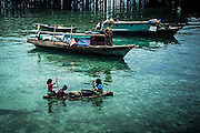 The typical boats called Lepa Lepa, on which some Bajau are living yet
