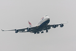 London Heathrow Airport, November 16th 2014. A British Airways Boeing 747-400 moments before touchdown on Heathrow Airport's runway 09L.