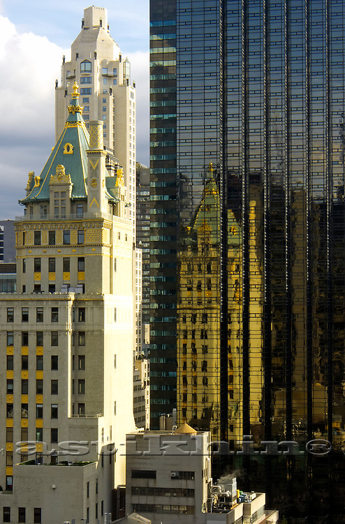 Reflection of Crown Building in windows of Trump Tower.