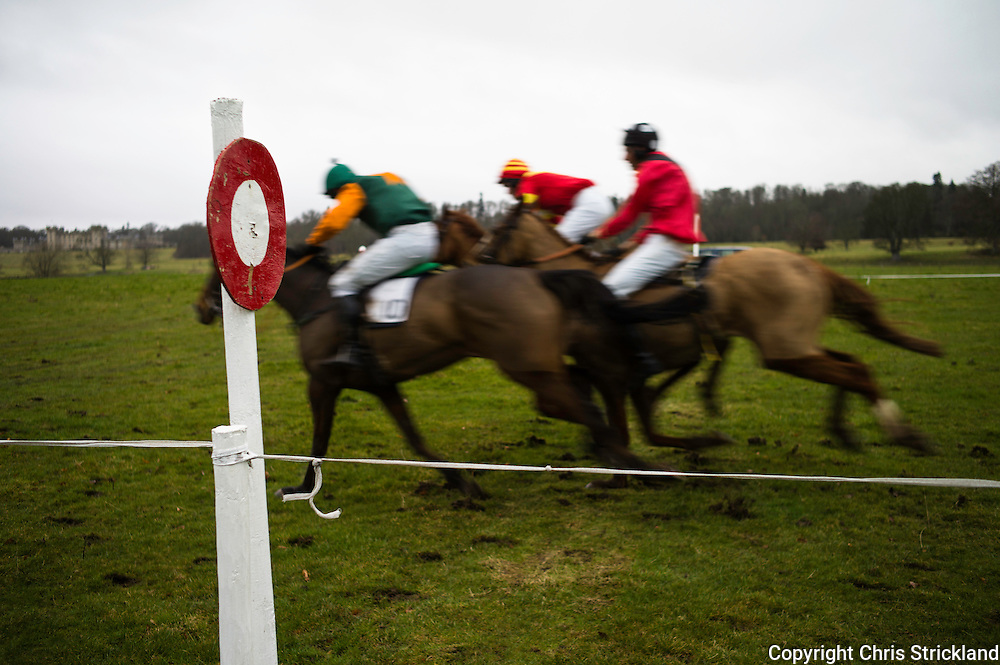 Irish horse, Rich Man's World (nearest), ridden by jockey P. Collins, wins the Billy Stenhouse Memorial Maiden race at the Jedforest point-to-point 2013.