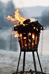 Fire in a brazier, The Dunkeld Hilton for the opening of the Tay for the 2012 fishing season..Pic © Michael Schofield...