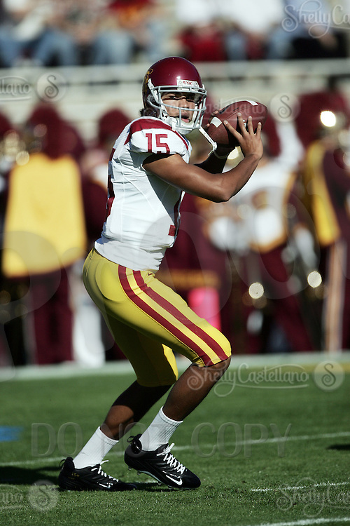 2 December 2006: QB Duron Sylvester with the ball during warmups before the Pac-10 college football upset UCLA beat the Trojans 13-9 during the final home game of the season for the UCLA Bruins vs the University of Southern California USC  Trojans at the Rose Bowl in Pasadena, CA.<br />