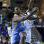 New York Liberty Center Avery Warley-Talbert (7) and Chicago Sky Center Sasha Goodlett (45) fight for the rebound in the fourth period of a WNBA preseason basketball game between the Chicago Sky and the New York Liberty Friday, May. 22, 2015 at The Bob Carpenter Sports Convocation Center in Newark, DEL