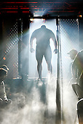 Tyler Linden enters the cage for his match against Cyle Gertz during the Ultimate Fighting Championship .tournament at the Memorial Auditorium in Burlington, Iowa.