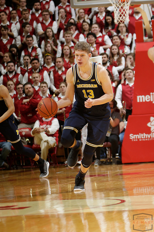 Michigan forward Moritz Wagner (13) in action as Michigan played Indiana in an NCCA college basketball game in Bloomington, Ind., Sunday, Feb. 12, 2017. (AJ Mast)