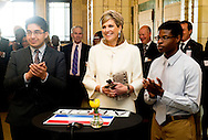 King Willem-Alexander and Queen Maxima of The Netherlands Visit Gwendolyn Brooks Preparatory College in Chicago. United States, 3 June 2015.The King and Queen visit the United States during an 3 day official visit. COPYRIGHT ROBIN UTRECHT
