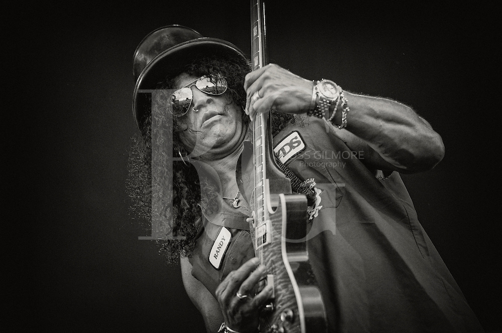 KINROSS, UNITED KINGDOM - JULY 09: Slash plays with Myles Kennedy on stage during the second day of T In The Park Festival 2011 at Balado on July 9, 2011 in Kinross, United Kingdom. Photo by Ross Gilmore