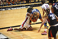"Ole Miss's Courtney Marbra (25) vs. Belmont's Alyssa Visbeen (50) and Ole Miss' Kenyotta Jenkins (11) at the C.M. ""Tad"" Smith Coliseum in Oxford, Miss. on Sunday, December 16, 2012. Ole Miss won 63-48."