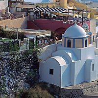 Europe, Mediterranean, Aegean, Greece, Greek Islands, Santorini, Thira. Scenic view of this popular tourist destination and cruise port.
