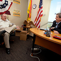 ORLANDO, FL -- October 21, 2010 -- Florida Tea Party chairman Fred O'Neal and chief strategist Doug Guetzloe talk about an opposing party's ads at the Florida Tea Party offices in Orlando, Fla., on Thursday, October 21, 2010.