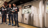 LandRover BAR skippered by Ben Ainslie with team mates David Carr, Nick Hutton, Paul Campbell James, Ed Powys, Matt Cornwell ride the NYC subway home after visiting the New York Stock Exchange<br /> Image licensed to Lloyd Images