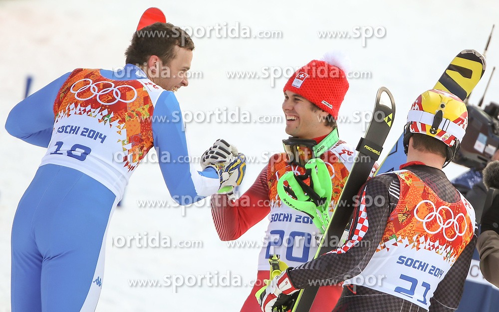 14.02.2014, Rosa Khutor Alpine Center, Krasnaya Polyana, RUS, Sochi, 2014, Super- Kombination, Herren, Flower Ceremonie, im Bild Bronzemedaillen Gewinner Christof Innerhofer (ITA), Olympia Sieger Sandro Viletta (SUI), Silbermedaillen Gewinner Ivica Kostelic (CRO) // Bronze Medalist Christof Innerhofer of Italy, Olympic Champion Sandro Viletta of Switzerland and Silver Medalist Ivica Kostelic of Croatia during the Flower Ceremony of the mens Super Combined of the Olympic Winter Games 'Sochi 2014' at the Rosa Khutor Alpine Center, Krasnaya Polyana, Russia on 2014/02/14. EXPA Pictures &copy; 2014, PhotoCredit: EXPA/ Minkoff<br /> <br /> *****ATTENTION - OUT of GER*****