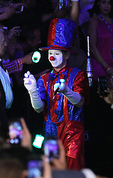 LAS VEGAS, NV - MAY 3: Circus performers lead Floyd Mayweather Jr. to the ring for his WBA/WBC welterweight unification fight against Marcos Maidana at the MGM Grand Garden Arena on May 3, 2014 in Las Vegas, Nevada. (Photo by Ed Mulholland/Golden Boy/Golden Boy via Getty Images) *** Local Caption ***Floyd Mayweather Jr.; Marcos Maidana