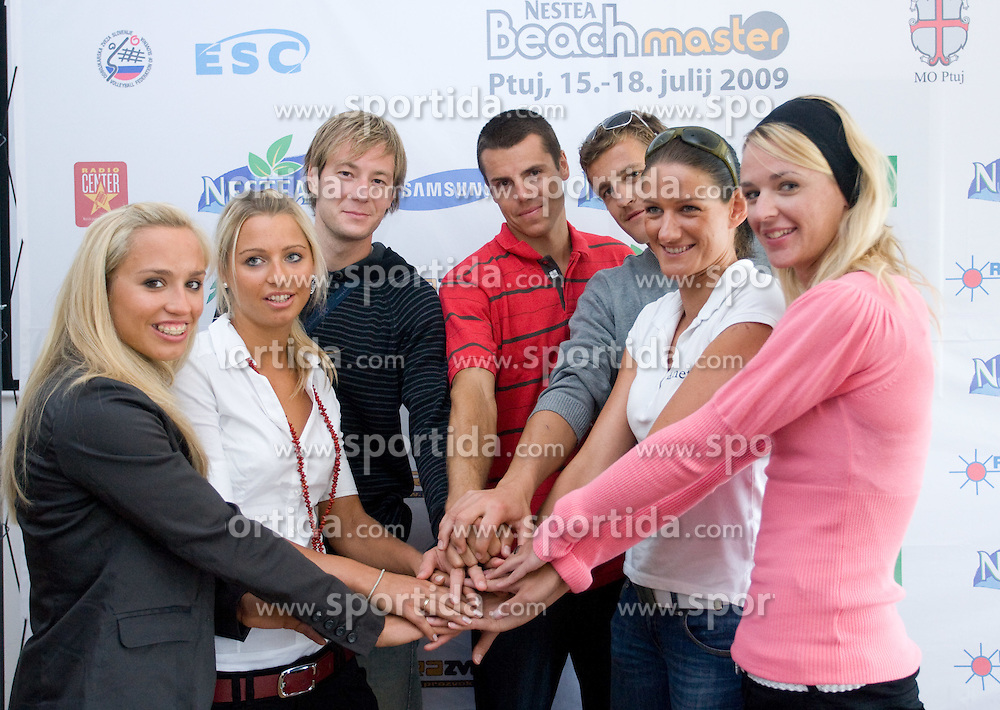 From L: Simona Fabjan, Erika Fabjan, Alen Djordjevic Kamenik,  Gregor Perhaj, Jernej Potocnik,  Andreja Vodeb and  Martina Jakob at press conference of Nestea BeachMaster tournament 2009 and Slovenian Beach Volleyball Tour,  on July 9, 2009, in Tivoli, Ljubljana, Slovenia. (Photo by Vid Ponikvar / Sportida)