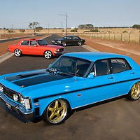1970 XW Falcon GT Replica - True Blue. 1977 Ford TE Cortina Sedan - PPG mandarin. 1970 XW Fairmont GS - Reef Green Metalic