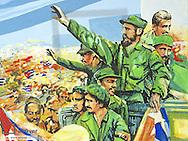 Havanna Vieja, old city, revolutionary museum, propaganda with the Maximo Lider, Fidel Castro, Cuba, Havanna