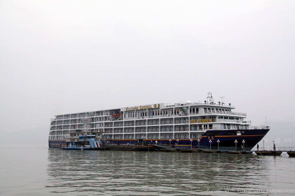 Asia, China, Tangtze River. The m/v Victoria Jenna in the mist.