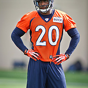 SHOT 7/25/13 9:40:36 AM - Denver Broncos strong safety Mike Adams #20 runs through drills during opening day of the team's training camp July 25, 2013 at Dove Valley in Englewood, Co.  (Photo by Marc Piscotty / © 2013)